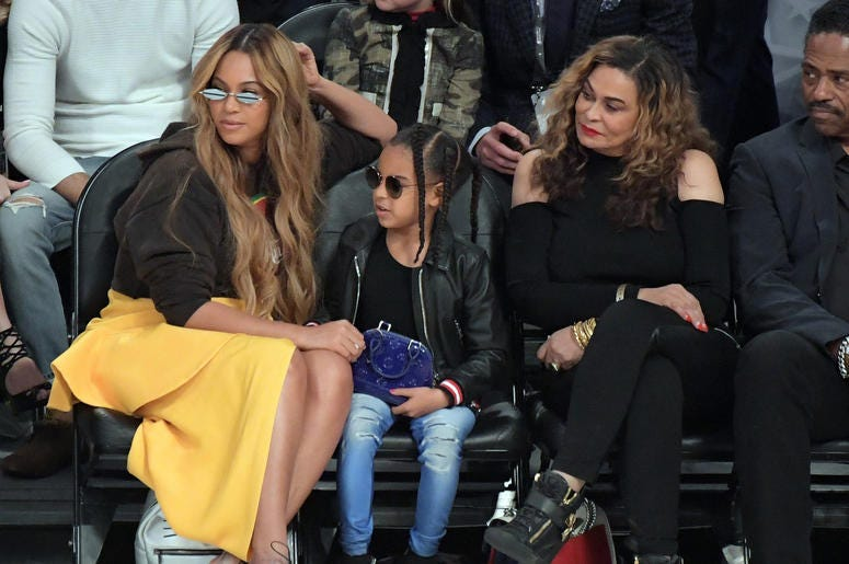 Feb 18, 2018; Los Angeles, CA, USA; Recording artist Beyonce and daughter Blue Ivy and mother Tina Knowles attend the 2018 NBA All Star game between Team Stephen and Team LeBron at Staples Center. Mandatory Credit: Kirby Lee-USA TODAY Sports