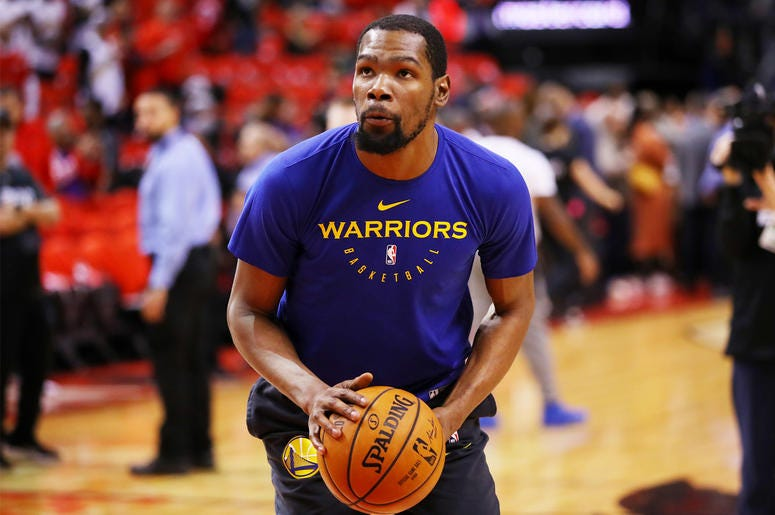 TORONTO, ONTARIO - JUNE 10: Kevin Durant #35 of the Golden State Warriors warms up prior to Game Five of the 2019 NBA Finals against the Toronto Raptors at Scotiabank Arena on June 10, 2019 in Toronto, Canada. NOTE TO USER: User expressly acknowledges and