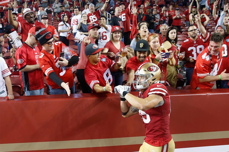 SANTA CLARA, CALIFORNIA - OCTOBER 07: George Kittle #85 of the San Francisco 49ers celebrates with fans after a win against the Cleveland Browns at Levi's Stadium on October 07, 2019 in Santa Clara, California. (Photo by Lachlan Cunningham/Getty Images)