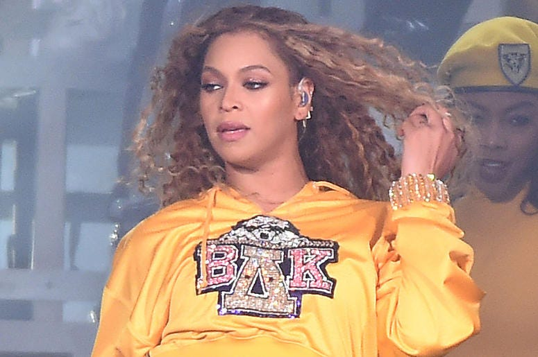 INDIO, CA - APRIL 14: Beyoncé performs at the 2018 Coachella Valley Music And Arts Festival at Indio Polo Grounds on April 14, 2018 in Indio, California. (Photo by Frank Micelotta/PictureGroup/Sipa USA)
