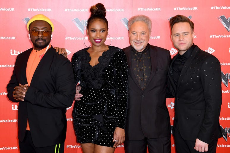 1/3/2019 - will.i.am, Jennifer Hudson, Tom Jones and Olly Murs attending The Voice UK 2019 Launch Photocall held at W Hotel, Leicester Square, London. Picture credit should read: Doug Peters/EMPICS (Photo by PA Images/Sipa USA)