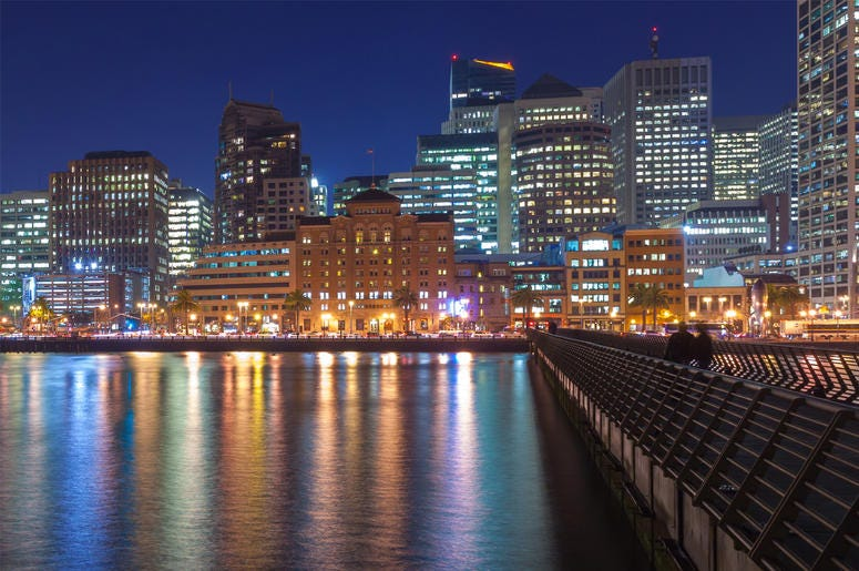 Night view of San Francisco skyline from Pier 14 (Photo credit: Nickolay Stanev/Dreamstime)