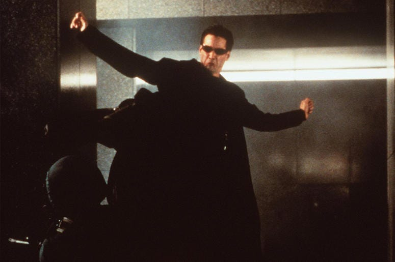 "374770 03: 1999 Keanu Reeves stars in ""The Matrix."" 1999 Warner Bros. and Village Roadshow Film."