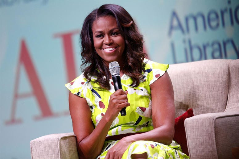 NEW ORLEANS, LA - JUNE 22: Former U.S. first lady Michelle Obama discusses her forthcoming memoir titled, 'Becoming', during the 2018 American Library Association Annual Conference on June 22, 2018 in New Orleans, Louisiana. (Photo by Jonathan Bachman/Get