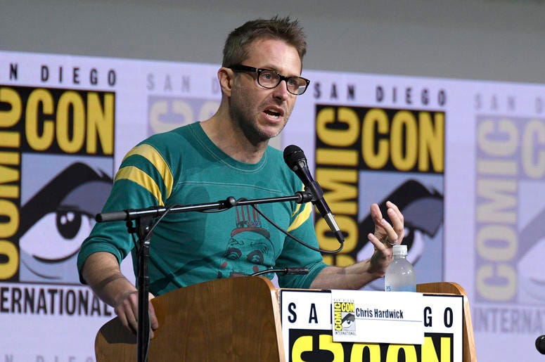 """In this July 21, 2017 file photo, Chris Hardwick moderates the """"Fear The Walking Dead"""" panel at Comic-Con International in San Diego. AMC host Chris Hardwick is returning to work after a review of sexual assault allegations against him by a former girlfri"""