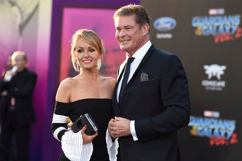 """In this April 19, 2017 file photo, Hayley Roberts, left, and David Hasselhoff arrive at the world premiere of """"Guardians of the Galaxy Vol. 2"""" in Los Angeles. Hasselhoff's publicist confirmed Tuesday, July 31, that the actor has married model Hayley Rober"""