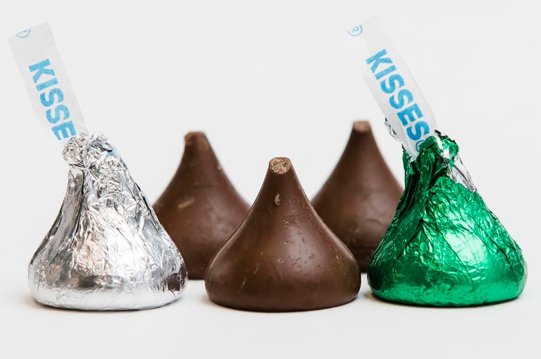 Hershey's Kisses are shown in Philadelphia on Thursday, Dec. 20, 2018. The chocolate candy's trademark tips have been mysteriously missing from batches around the country. (AP Photo/Matt Rourke)