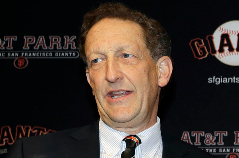 In this Jan. 19, 2018, file photo, San Francisco Giants President and CEO Larry Baer is shown during a press conference in San Francisco. (AP Photo/Marcio Jose Sanchez, File)