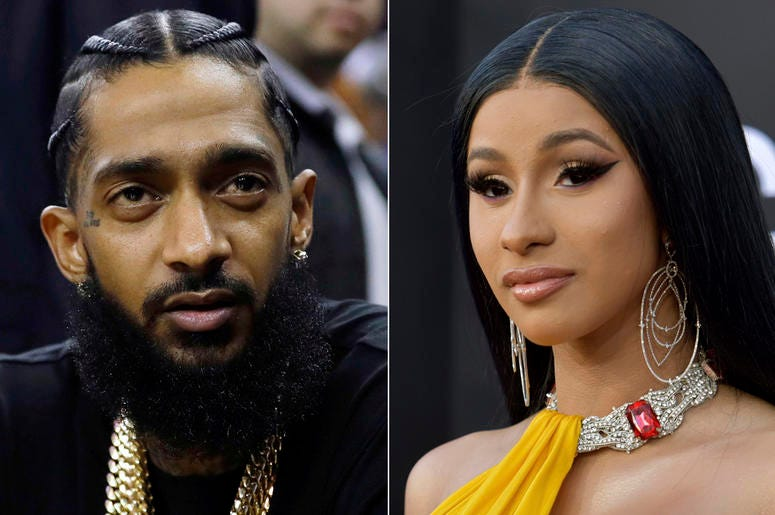 This combination of photos shows rapper Nipsey Hussle at an NBA basketball game between the Golden State Warriors and the Milwaukee Bucks in Oakland, California. (AP Photo)