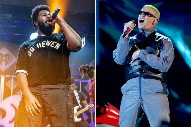 This combination photo shows Khalid performing at Y100's Jingle Ball in Sunrise, Fla. on Dec. 16, 2018, left, and Bad Bunny performing at the Billboard Latin Music Awards in Las Vegas on April 25, 2019. (AP Photo)