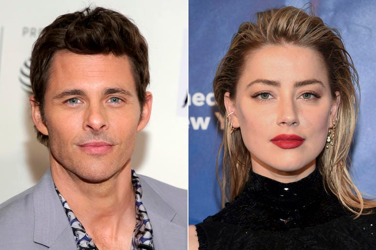 "This combination photo shows actor James Marsden at a screening of ""Westworld"" during the 2018 Tribeca Film Festival in New York on April 19, 2018, left, and actress Amber Heard at the Planned Parenthood of New York City spring gala benefit in New York on"
