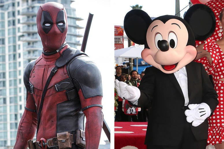Deadpool and Mickey Mouse (Photo credit: Joe Lederer/Twentieth Century Fox Film Corp/F. Sadou/AdMedia/Sipa USA)