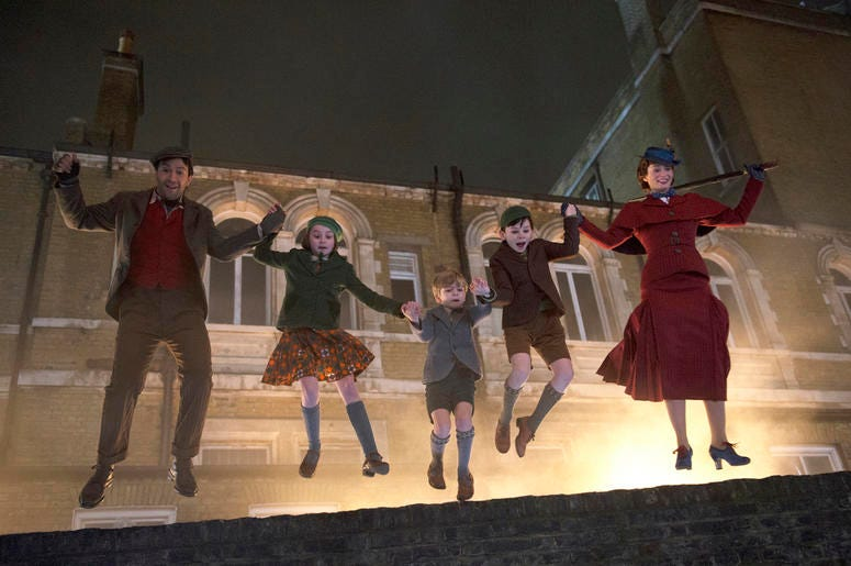 """This image released by Disney shows, from left, Lin-Manuel Miranda, Pixie Davies, Joel Dawson, Nathanael Saleh and Emily Blunt in """"Mary Poppins Returns."""" (Photo credit: Jay Maidment/Disney via AP)"""