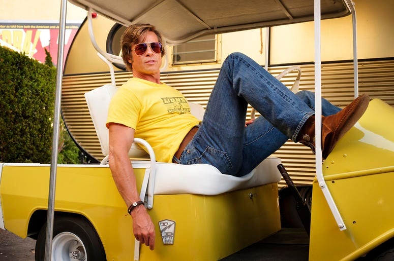 "This image released by Sony Pictures shows Brad Pitt in Quentin Tarantino's ""Once Upon a Time in Hollywood."" (Andrew Cooper/Sony-Columbia Pictures via AP)"