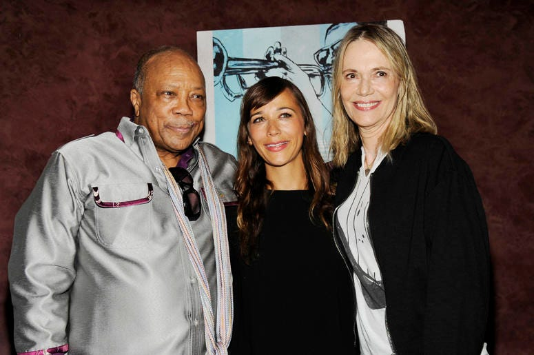 "In this Sept. 17, 2014 file photo, Quincy Jones, left, a producer of the documentary film ""Keep On Keepin' On,"" poses with ex-wife Peggy Lipton, right, and their daughter Rashida Jones at the premiere of the film at Landmark Theatres in Los Angeles. (Phot"