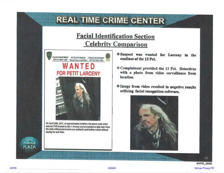 This undated image provided by Georgetown University's Center on Privacy and Technology shows presentation material with images of a wanted suspect in a New York Police Department document obtained by the university. (Georgetown University Center on Priva