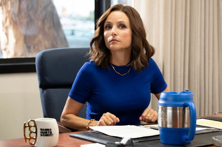"AP19260570732954 This image released by HBO shows Julia Louis-Dreyfus in a scene from ""Veep."" The program iss nominated for an Emmy Award for outstanding comedy series. Louis-Dreyfus is also nominated for best actress in a comedy series. (HBO via AP)"