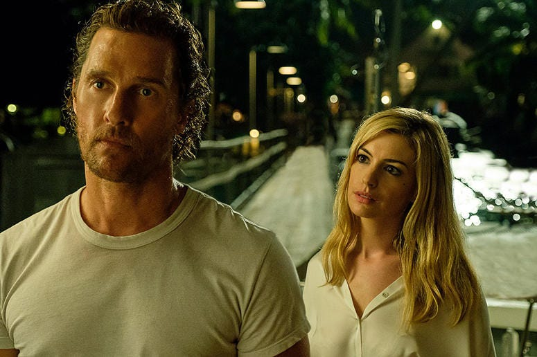 """Matthew McConaughey and Anne Hathaway in """"Serenity"""" (Photo credit: Graham Bartholomew/Universal Pictures)"""