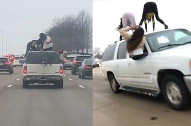 Women Dangerously Twerk On Top of Moving Car On Highway
