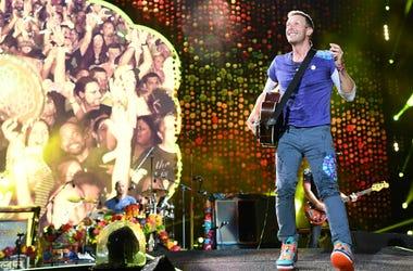 Chris Martin of Coldplay performs at the Hard Rock Stadium.