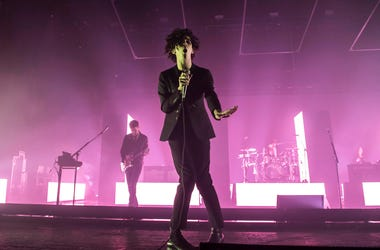 The 1975 perform live on stage at the O2 Academy