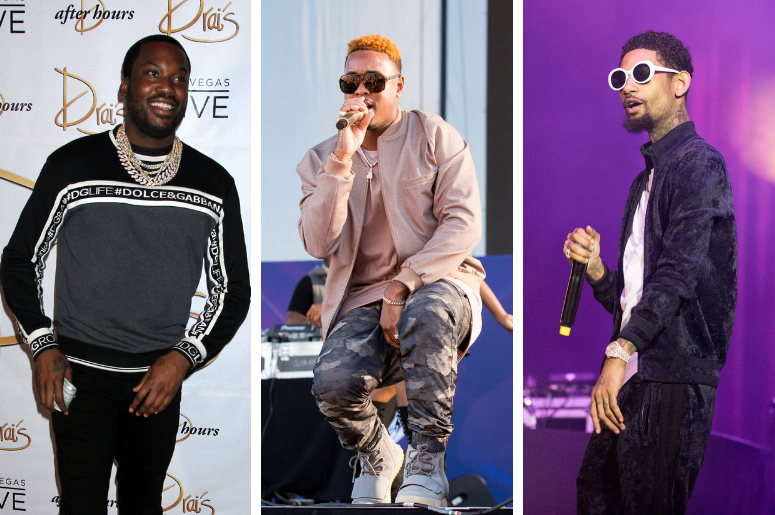 Meek Mill attends the launch of Exclusive Drai Live Concert Residency at Drai's Nightclub, Las Vegas on July 7, 2018. Jeremih (Jeremy Felton) on September 24, 2016, in Las Vegas, Nevada. PnB Rock (Rakim Allen) Freshmen Concert at UIC Pavilion on September