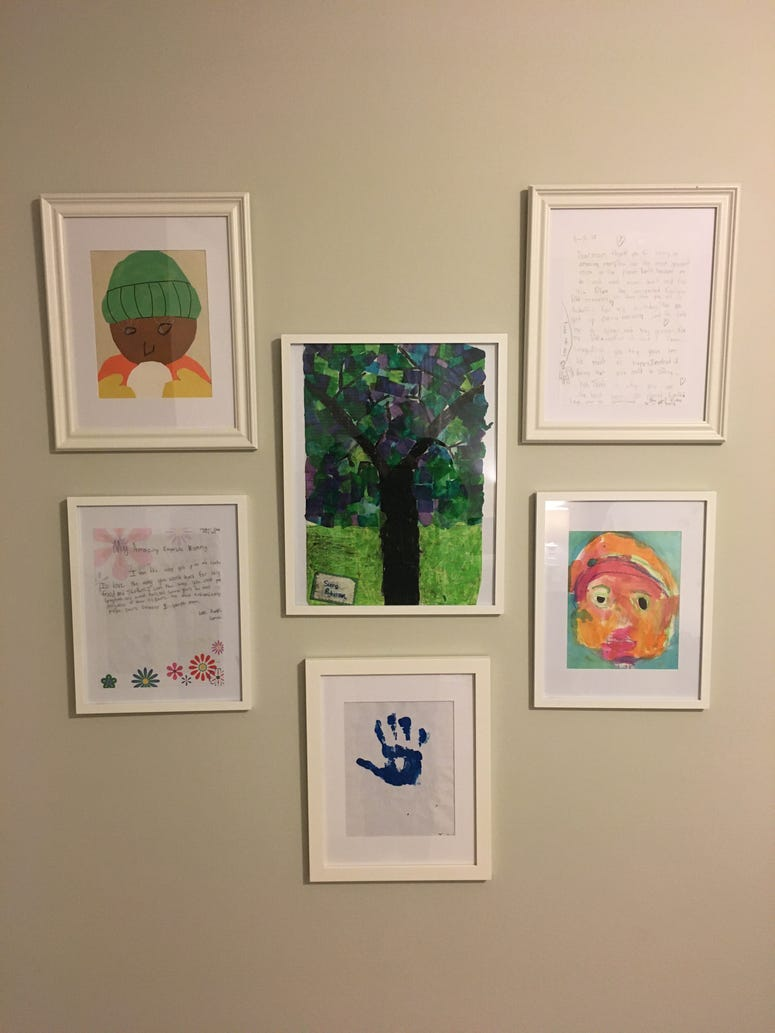 Kids' artwork framed