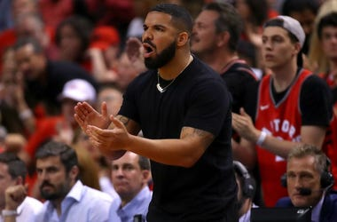 Drake reacts in the first half during Game Five of the 2019 NBA Finals