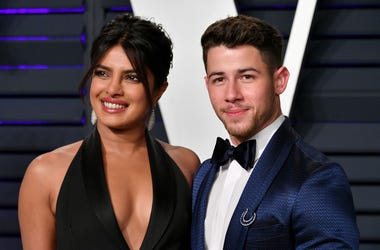 Priyanka Chopra (L) and Nick Jonas attend the 2019 Vanity Fair Oscar Party hosted by Radhika Jones at Wallis Annenberg Center for the Performing Arts on February 24, 2019 in Beverly Hills, California