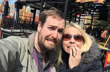 Jenn and David Ride the Virtual Reality Roller Coaster!