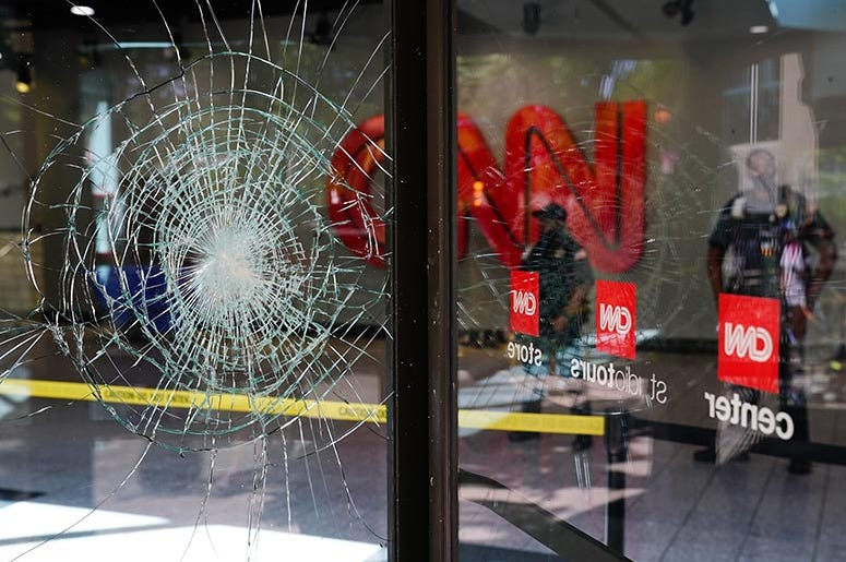 Damage is seen to CNN Center