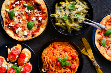 Italian vegetarian platter-pasta,bruschetta and pizza