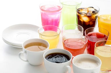 multiple different beverages on counter