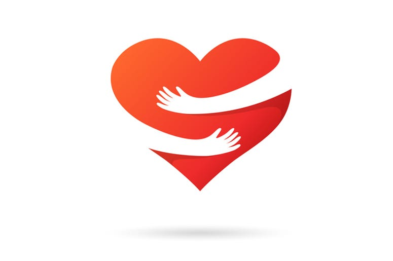 Red Heart with Helping Hands around it