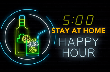 Happy Hour drinks and neon
