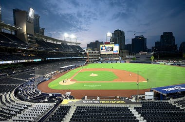 Overhead view of Petco Park at dusk