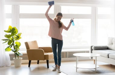 Woman cleaning, spring cleaning