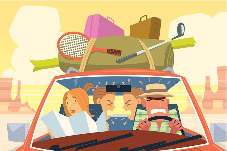 Kids in Car on Roadtrop