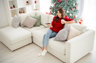 Lady watching Christmas Movie
