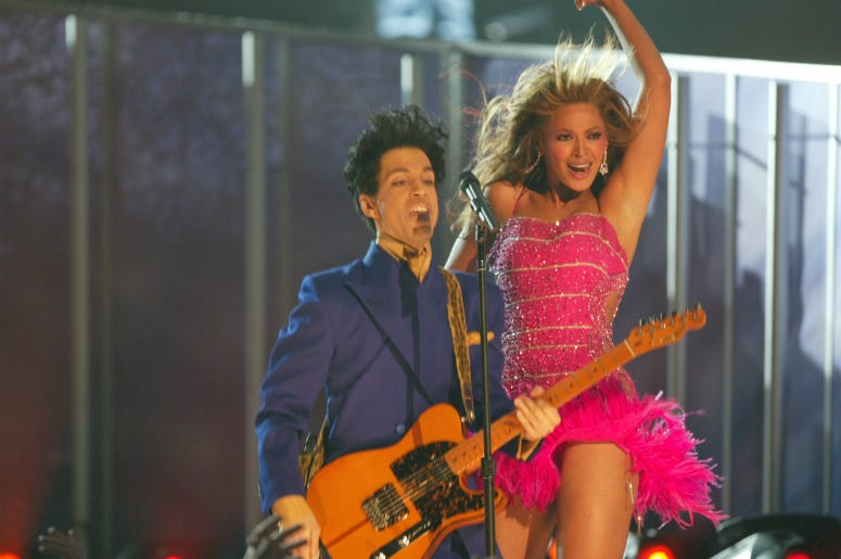 Beyonce and Prince perform at the 46th Annual Grammy Awards