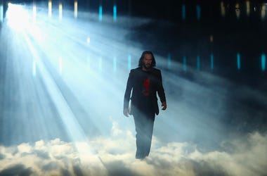 Keanu Reeves walks on stage at The Microsoft Theater on June 09, 2019