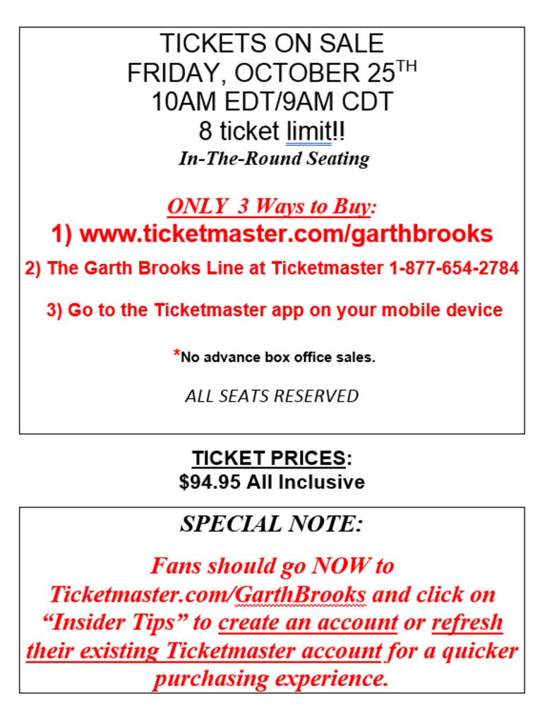 Garth 3 on sale info