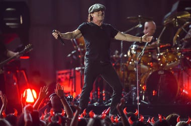 AC/DC lead vocalist Brian Johnson performs
