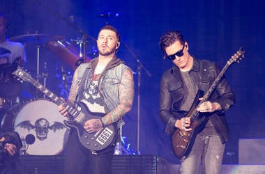 Zacky Vengeance (Zachary Baker) and Synyster Gates (Brian Haner, Jr.) of Avenged Sevenfold performs live at U.S. Bank Stadium in Minneapolis, Minnesota