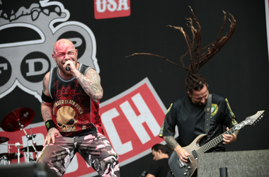 Five Finger Death Punch performing on the main stage on day 3 of the 2016 Reading Festival
