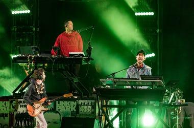Brad Delsen, Mike Shinoda and Joe Hahn of Linkin Park