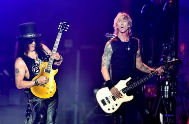 Musicians Slash (L) and Duff McKagan of Guns N' Roses perform onstage during day 2 of the 2016 Coachella Valley Music & Arts Festival Weekend 1