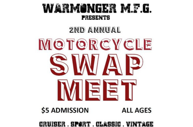 2nd Annual Motorcycle Swap Meet, $5 admission