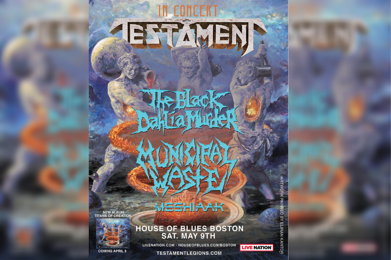 Testament at the House of Blues Boston - show poster