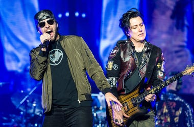 M. Shadows and Synyster Gates of Avenged Sevenfold perform during Avenged Sevenfold's The Stage World Tour